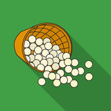 Basket with golf balls icon in flat style isolated on white background. Golf club symbol stock vector illustration. Basket with golf balls icon in flat style Royalty Free Stock Photography