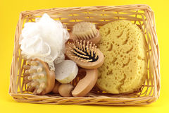 Basket of Goods for personal care Stock Photo