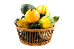 Basket with gourds Stock Photos