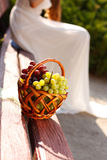Basket of grapes on a wooden bench Royalty Free Stock Photo