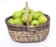 Basket with green apples Royalty Free Stock Photo