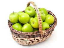 Basket with green apples Stock Images