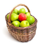 Basket with green apples and one red one Royalty Free Stock Images