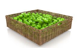 Basket with green apples. For processing trade scenes Stock Photo