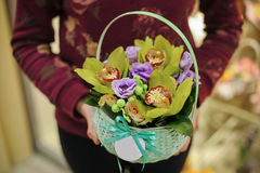 Basket with green orchid flowers. In hands royalty free stock images