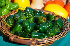 Basket of Green Peppers Stock Photos