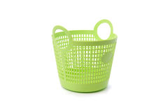 Basket green sphere plastic on white background.  Stock Image