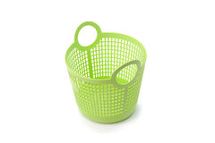 Basket green sphere plastic on white background.  Stock Photo