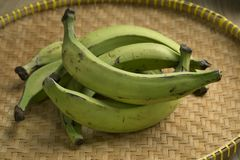 Basket with green unripe bananas Stock Photo