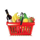 Basket of groceries Stock Photos