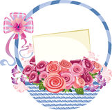 Basket handle with flowers and a card Stock Image
