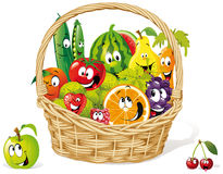 Basket of happy fruit. Illustration of basket of happy fruit and vegetables isolated on white background Stock Image