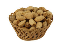 Basket of Hard Shelled Fresh Almonds Stock Photography