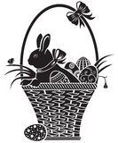 Basket with the hare stock illustration