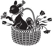 Basket with the hare Stock Photography