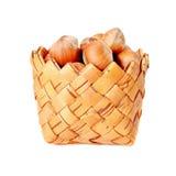 Basket with hazelnuts Stock Image
