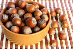 Basket with hazelnuts Royalty Free Stock Image