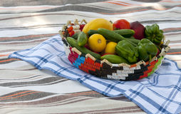 Basket with healthy food Royalty Free Stock Photos