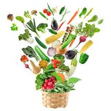 Basket of Healthy Food Stock Photography