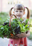 Basket with herbs. Little girl holding wicker basket with fresh herbs Stock Images