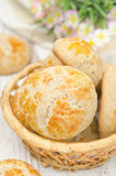 Basket with homemade bread rolls closeup. Top view Stock Photos
