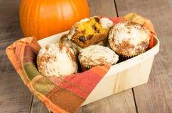Basket of homemade pumpkin muffins Stock Photography