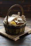 Basket with honey and lemon Stock Photos