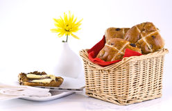 Basket of hot cross buns Stock Images
