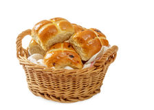 Basket Of Hot Cross Buns Royalty Free Stock Image