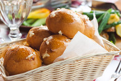 The basket of hot fresh baked buns Stock Photo