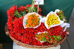 Basket with hot pepper on vegetable market Royalty Free Stock Images