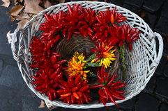 Basket of hot peppers Stock Image