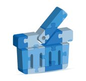 Basket  icon in puzzle Stock Photo