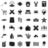 Basket icons set, simle style. Basket icons set. Simple style of 36 basket vector icons for web isolated on white background Stock Photography