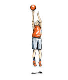 Basket illustration man practice sport. Basketball game, free throw during a sports competition Royalty Free Stock Photos
