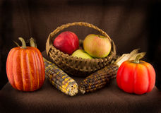 Basket, Indian Corn, Apples and Pumkins Stock Photography