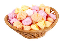 Basket isolated marshmallow Royalty Free Stock Images