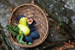 Basket of Italian Figs and Pears Royalty Free Stock Images