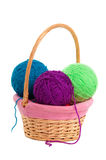 Basket with knitting balls Stock Photo