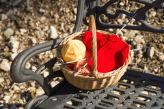 Basket with knitting utiensils Royalty Free Stock Images