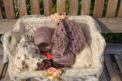 Basket of knitting and yarns on a bench Stock Images