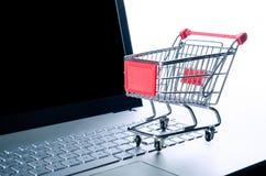 Basket on laptop keyboard Royalty Free Stock Photo