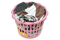 Basket with laundry isolated. On white background Stock Photos