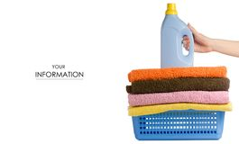 Basket with laundry towels liquid bottle powder conditioner softener in hand pattern. On white background isolation Royalty Free Stock Photos