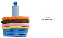 Basket with laundry towels liquid bottle powder conditioner softener pattern. On white background isolation Stock Photography