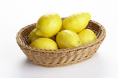 Basket of lemons Stock Photos