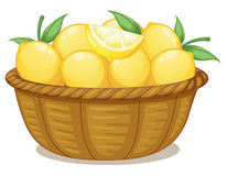 A basket of lemons. Illustration of a basket of lemons on a white background Stock Photos