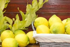 A basket with lemons. On a table, a branch with leaves of the tree Stock Photo