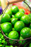 The basket of limes Royalty Free Stock Photo