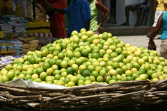Basket with Limes. Market scene in Brasil Stock Images